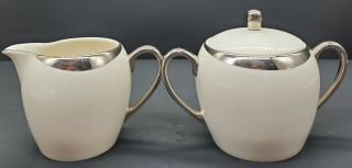 Pickard Crescent Ivory Creamer & Sugar Set