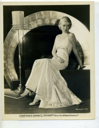 """Constance Bennett With Cigarette In """" Bought """" 1931 Vintage Studio Publicity Photo"""