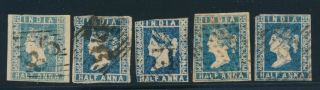 India 1854.  1/2a Blue.  Lot 5 Stamps