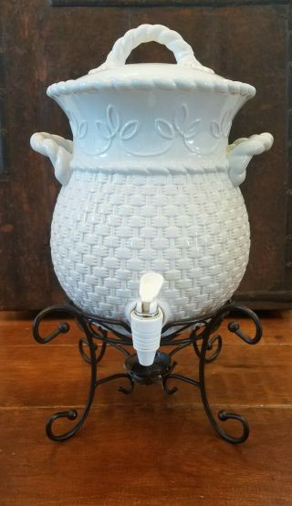 Home And Garden Party Veranda Basket Weave Beverage Dispenser Euc