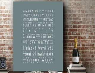 Art Print | Canvas - Lumineers Ho Hey I Belong With You | Art Song Lyrics Gift
