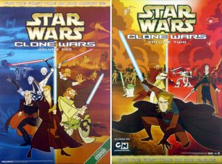 Star Wars: Clone Wars (2005) Set Of 2 Dvd Movie Posters - Rolled