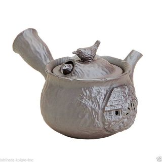 Banko - Yaki Pottery : Birds - Japanese Pottery Kyusu Tea Pot 220cc Grey