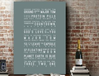 David Bowie Space Oddity | Poster Word Wall Art Song Lyrics Print | Canvas Gift