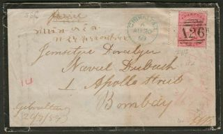 Gibraltar 1859 Qv Gb 4d Rose Mourning Cover To India W A26 Postmark Sg Z35