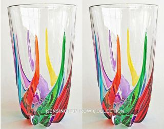 """ Venetian Carnevale "" Highball Glasses - Set/2 - Hand Painted Venetian Glassware"