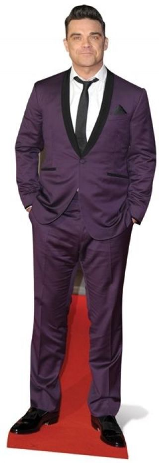 Robbie Williams Purple Suit Pop Singer Fun Cardboard Cutout - Great For Parties