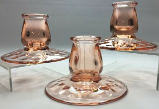 Set Of 3 Vtg 1926 Heisey Pink Flamingo Miss Muffet Candlestick Candle Holders