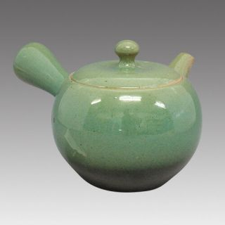 Tokoname Kyusu Teapot - Issin - Green Glaze 360cc/ml - Refresh Stainless Steel Net