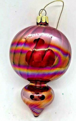 Large Modern Art Glass Teardrop Ornament In Plum,  Gold Hand - Crafted