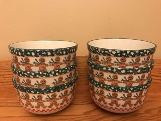 "Set Of (6) Tienshan Folk Craft Gingerbread Stoneware 5 5/8 "" Soup / Cereal Bowls"