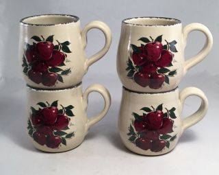 4 Apple Coffee Mugs Cups Home And Garden Party Brand June 2000 16 Ounce