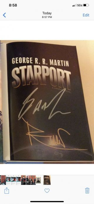 Got Creator George Rr Martin Signed Starport W/proof Game Of Thrones Hbo