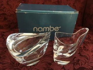 8rw8 Nambe Crystal Butterfly Cream & Sugar Bowl - Modern Handcrafted Elegance