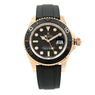 Rolex Yacht - Master Matt Black Dial Everose Gold Rubber Automatic Watch 116655