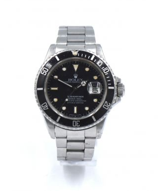 Vintage Rolex Submariner 16800 Wristwatch Black Matte Dial Stainless Steel C1987