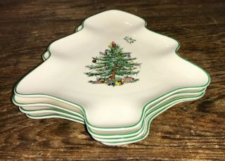 Spode Christmas Tree Green Trim Small Tree Shaped Dishes W/ Mistletoe Set Of 4