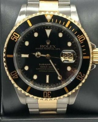 Rolex Submariner Date Auto 40mm Steel Yellow Gold Mens Watch Bracelet 116613ln