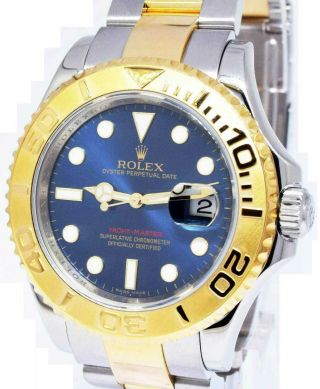 Rolex Yacht - Master 18k Yellow Gold/steel Blue Dial Mens Watch Box/papers 16623