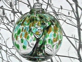 "Hanging Glass Ball 4 "" Diameter "" Winter Tree "" Witch Ball (1) 110"