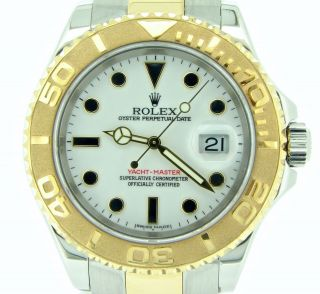 Rolex Yacht Master Mens 18k Yellow Gold & Stainless Steel Watch White Dial 16623