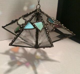 Beveled Glass Metal Folk Art Hanging Chime Sun Catcher Prism Garden Charm T37
