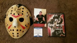 Friday The 13th Jason Vorhees Mask & Dvd Signed By Kane Hodder With Beckett