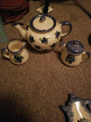 Vintage Blueberry Hand Crafted Teapot & Cream & Sugar Made In Maine