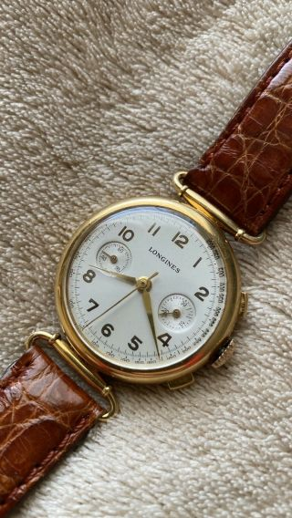 Vintage Longines 18k Chronograph 13zn Flyback 1937 Swiss Made Serviced