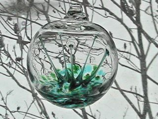 "Hanging Glass Ball 4 "" Diameter Green & Aqua Tree Witch Ball (1) Wb28"