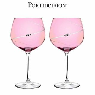 Portmeirion Auris Pink Gin Glasses With Swarovski Crystals Set Of 2,  780ml