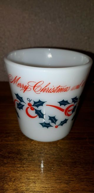 Vintage Pyrex Glass Merry Christmas Happy Year Coffee Mug D Handle