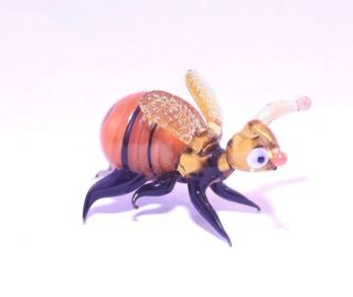 """1.  6 """" Murano Style Art Craft Color Glass Figurines """" Happy Bee """" D25"""