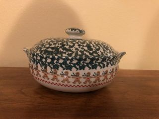 """Tienshan Folk Craft """" Gingerbread """" Covered Casserole Dish/ Bowl With Lid - Euc"""