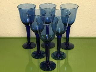 Vintage Blown Glass Cobalt Blue Stemmed Wine/water Goblets (set Of 6)