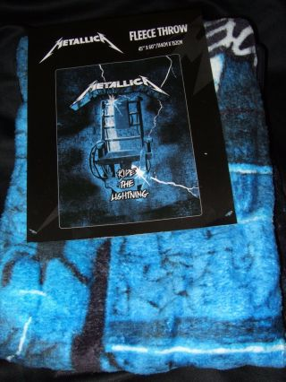 Nwt Metallica Ride The Lightning Electric Chair Metal Band Plush Throw Blanket