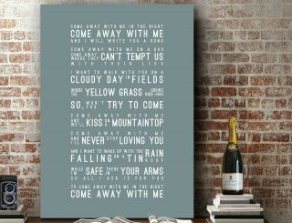 Art Print | Canvas - Norah Jones Come Away With Me | Wall Art Song Lyrics Gift