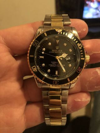 Rolex 18k Gold/stainless Steel Oyster Perpetual Submariner Date 16613 Black 40mm