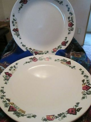 Corning Corelle Garden Home Birdhouses Dinner Plates Set Of 4