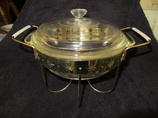 Vintage Fire King Glass Chafing Dish With Brass Plated Stand Star Inlay Look