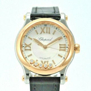 Chopard Happy Sport 278573 - 6001 Rose Gold And Steel 30 Mm And 5 Diamonds