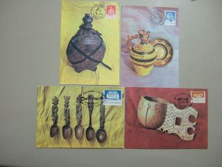 Four Art Craft Wooden And Ceramic Maxi Cards