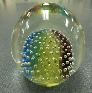 Vtg Murano Hand Crafted Glass Paperweight By Moretti,  Signed Blue,  Gold,  Purple