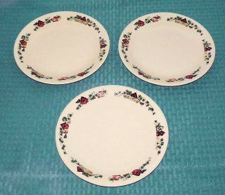 "(3) Corning Corelle Usa Garden Home 8 1/2 "" Luncheon Plates - Very Good Cond."