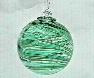 "Hanging Glass Ball 4 "" Diameter Teal Green & Pale Lime Swirls (1) 20"