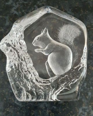 Mats Jonasson Squirrel Paperweight Hand Crafted Crystal
