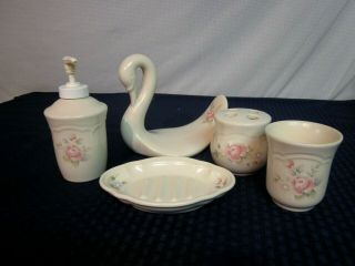 Pfaltzgraff Tea Rose 5pc.  Bath Accessory Set.  1985 -.  All Usa.  Perfect.