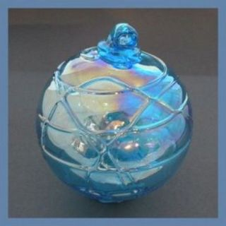 "Hanging Glass Ball 4 "" Aqua Glass With Geometric Lines (1) Gb90 Slight Ab Finish"