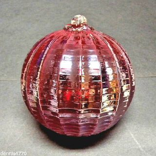 "Hanging Glass Ball 4 "" Diameter Ruby Red Ridged Friendship Ball (1) Hgb15"