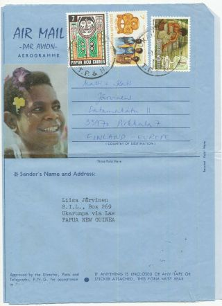 Papua Guinea 1977 Aerogramme Scout Girl Guide & Hand Craft Stamp To Finland